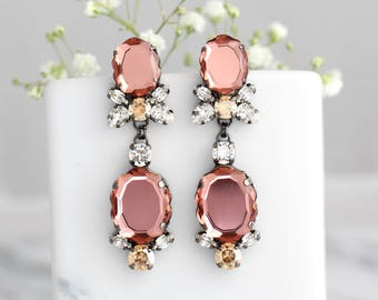Blush Earrings, Bridal Blush Earrings, Blush Chandelier Earrings, Bridal Dark Pink Long Earrings, Blush Rose Swarovski Crystal Chandeliers