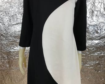 Vintage Black and White Color Block 80's/90's Dress