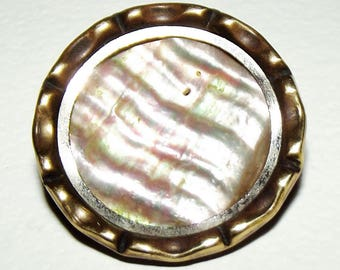 Antique Button ~ Metal Button Iridescent Abalone Pearl Center ~ Old Button ~  Natural Pearl Button