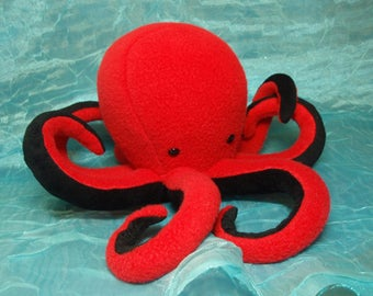 Bright Red and Black Fleece Baby Octopus Plush Stuffed Animal