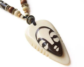 African Carved Bone Pendant Necklace, Long Beaded Necklace, Batik Printed African Beads, Ethnic Inspired Boho Chic Jewellery