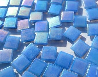 Sky Blue Iridescent Venetian Glass Tiles - 1 cm - Approx 3/8 inch - Mosaic Tiles - 100 grams - 10mmx10mmx4mm Mini Mosaic Tiles