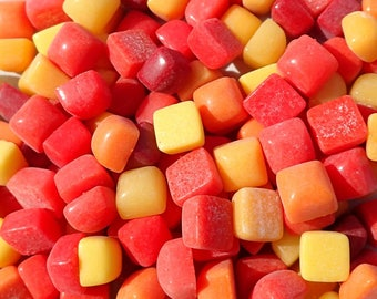 Fiesta Mix TINY Glass Tiles - 6mm Mini Mosaic Tiles - 100 Square with Domed Top - Use for Mosaic Jewelry Crystal - Red Yellow Orange Mix