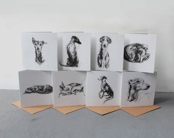 Whippet, Greyhound, Lurcher Cards - set of 8 - dog sketch cards - greyhound gifts