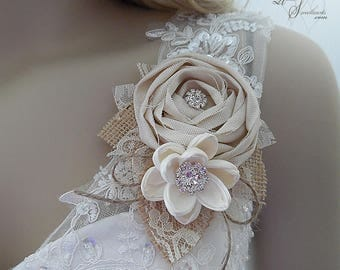 Ships in 5 days ~~ Rustic Burlap & Sola Flower Corsage, Bride, MOB, MOG, MOH, Bridesmaid, can be worn as a wrist corsage or pin on.