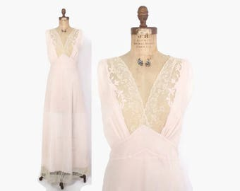 Vintage 40s Lacy NIGHTGOWN / 1940s Pale Pink Semi Sheer Crepe Full Length Slip Dress M