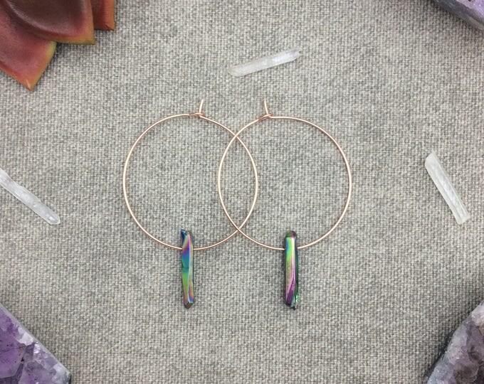 Rainbow Titanium Quartz Crystal Hoop Earrings