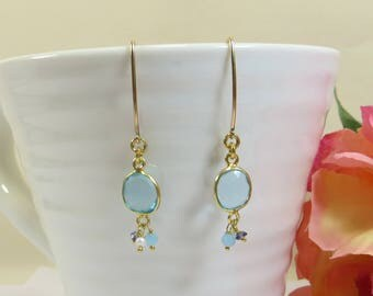 Blue Topaz Gem Dangle Earrings, Blue Topaz with 14KT GF Long Drop Hook Earrings, Iolite Water Sapphire Larimar and Freshwater Pearl Earrings