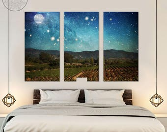 vineyard wall art - triptych wall art  - california wine country wall art - large canvas prints - large wall art - vineyard decor