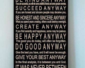 ON SALE Beautiful 12x24 wooden sign with Mother Teresa's Do It Anyway Poem