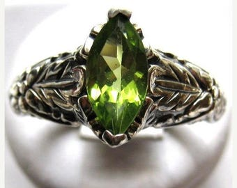 Summer time Sale Event Marquise Cut Green Peridot Sterling Silver Ring Leaf Pattern Band Diamond Accents handmade fine jewelry custom sizes