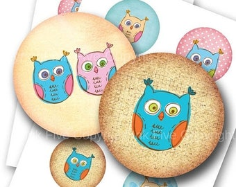 Digital collage sheet Doodle Owls  2.5 inch circles printable images for pocket mirrors, magnets, cards, badges. Instant download printable