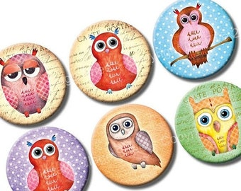 Watercolour Owls 1 inch bottle caps circles images. Printable watercolor instant download digital collage sheet for owl pendants, bottlecaps
