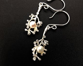 Sterling Silver Coral Pearl Earrings, Sterling Silver Jewelry, Gift Ideas, Drop Earrings, Dangle Earrings, Coral Earrings, Pearl Earrings