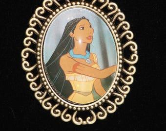 Disney Pocahantas Princess American Indian Bronze Filigree Necklace