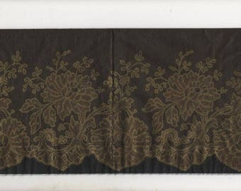 3217 - Set of 4 napkins arabesque gold on black background