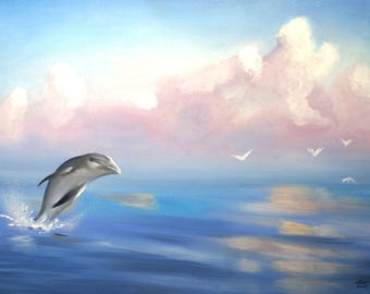 Dolphin oils on 24x36 (61 x 91 cm) canvas by artist RUSTY RUST / D-182