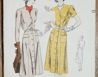 "Vintage 1950s Vogue Dress Pattern 6055 Size 16 Bust 34"""