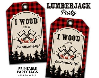 Lumberjack Outdoor Party Thank You Favor Printable Party Tags Instant Download Print Your Own
