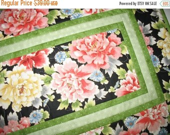 Sale Christmas in July Floral Table Runner, Asian, quilted, fabric from Red Rooster