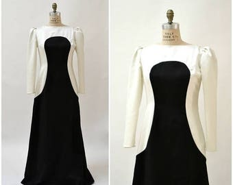 SALE 70s Vintage Evening Gown Dress Black and White Cream by Estevez Large// Black and White Color Block Evening Gown Long Sleeve Long Dress
