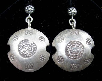 Vintage Silver Disc  Earrings - Thai Hill Tribe Stamped Earrings Sterling Silver Dangles