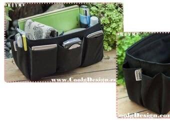 Purse ORGANIZER insert / Bag Organizer / Extra Sturdy / Black / Large 25x10cm