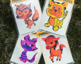 Large Friendly Faces vintage NOS vinyl decals fox cat tiger donkey midcentury graphic kids childrens frameable 4 available