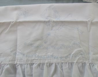 Pair of Stamped Ruffled Pillowcases to Embroider - Butterfly Lady  by Fairway Needlecraft Co. #82525 -  CS19N
