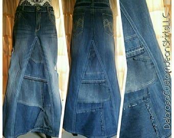 DELAROSA custom jean skirt Anylese Sky Cheré Patches of Sassiness denim skirt size 0-2-4-6-8-10-12-14-16-18-20-22-24-26