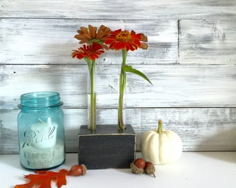 Test Tube Flower Vase, bud vase, small gift, black, wood block, Fall decor
