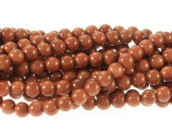 "Goldstone Beads, 6 mm Beads, 16"" strand"