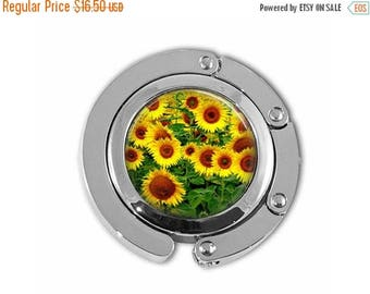 ON SALE Yellow Sunflowers Spring Garden Purse Hook Purse Hanger Umbrella Hanger Handbag Holder