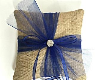 Navy Ring Pillow, Navy Ring Bearer Pillow, Burlap Ring Pillow, Burlap Ring Bearer Pillow, Navy Wedding, Navy Wedding Ring Pillow, Rustic