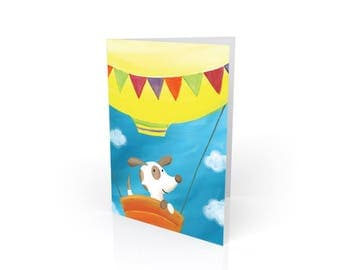 Puppy's Balloon Ride - New Puppy / New Baby Card