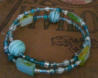 Turquoise Swirl and Translucent Wrapped Memory Wire Bracelet