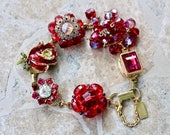 Vintage Earring Bracelet,Enamel Flower, Gold, Flower, Size Choice, Cluster, crystal, Bridesmaid, gift for her, Jennifer Jones OOAK, Ruby Red