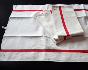 4 Vintage French Kitchen Towels or Torchons with Red Stripes on Linen ...