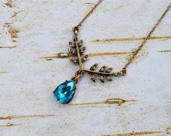 Gold Rhinestone Leaf Necklace, Antique Gold Leaf Y-Necklace, Aquamarine Blue Vintage Necklace, Leaf Charm Jewelry Gift