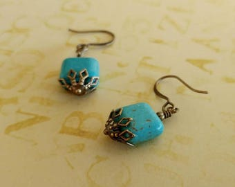 Turquoise Colored Square Magnesite Earrings With Antiqued Gold Plated Brass, Bronze Accents