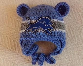 Detroit Lions Baby hat for Newborn to 12 months- Detroit team colors