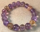 Ametrine Bracelet / Ametrine Beaded Bracelet / 10mm Bracelet / Bead Bracelets / Stretch Bracelets / Amethyst / Citrine / Ametrine Jewelry