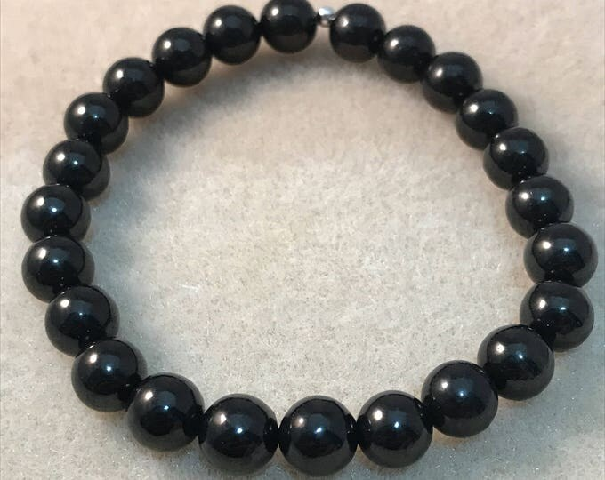 Jet 8mm Round Stretch Bead Bracelet with Sterling Silver Accent