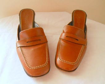 Vintage preppy loafer style Leather Mules