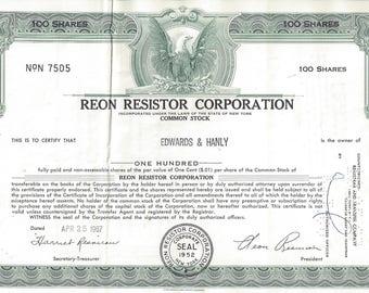 Vintage Reon Resistor Corporation Original Stock Certificate, 1960s