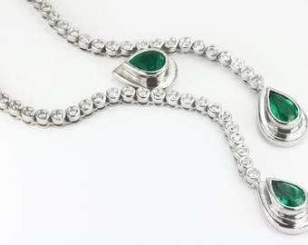 9.24tcw 18K Pear Emerald Diamond Necklace, Emerald Lariat, Diamond Lariat, Emerald Necklace, Emerald and diamond necklace, Pear Emerald