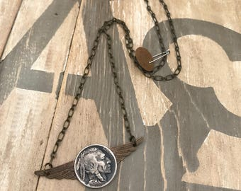 Buffalo Nickel Indian wings necklace