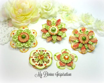 Basic Grey Hello Luscious Green Ivory Orange Paper Embellishments and Paper Flowers for Scrapbook Layouts Cards Mini Albums Tags Papercrafts