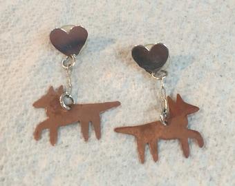 Vintage 1990s copper & silver fox dangle-state earrings