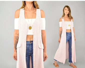 SUMMER SALE 90's Gingham Button-Up Dress/Duster